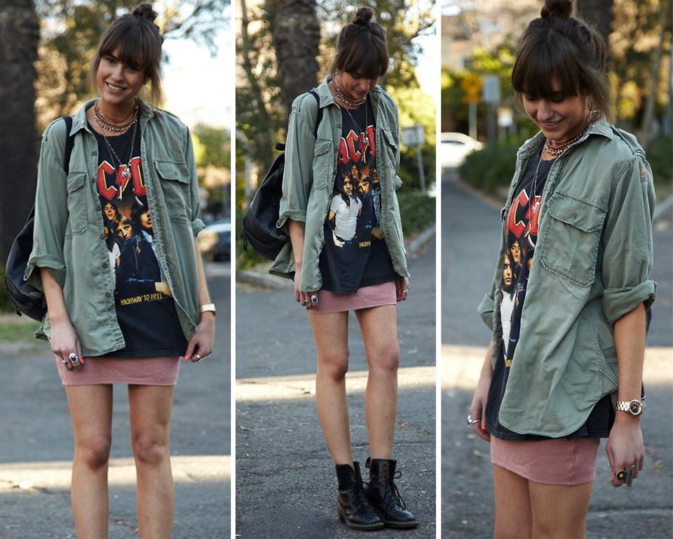 """Look da Annabel com saia lápis tipo """"mini"""" cominada com t-shirt e coturno"""