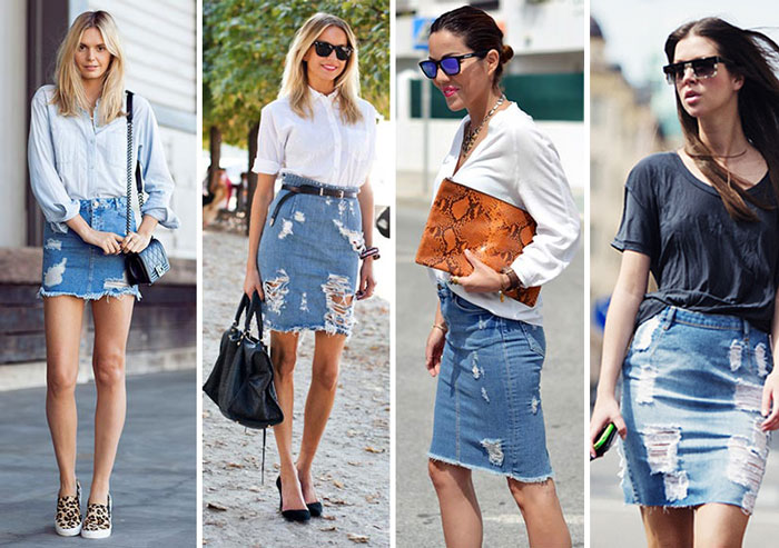 Saia jeans rasgada tipo lápiz