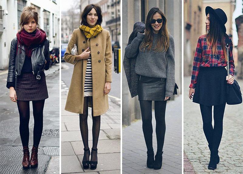 saia no inverno com meia calça
